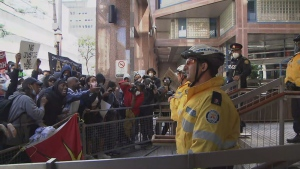 The rally for Regis Korchinski-Paquet ended at Toronto Police Headquarters.
