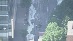 Oxygen tank explosion at College and Elizabeth