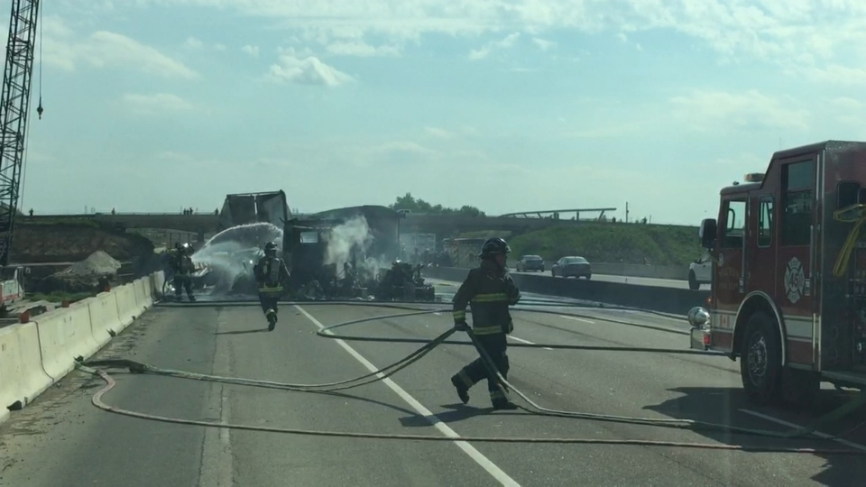 The wreckage of a multi-vehicle collision is seen in the eastbound lanes of Highway 401 in Milton Tuesday June 2, 2020.