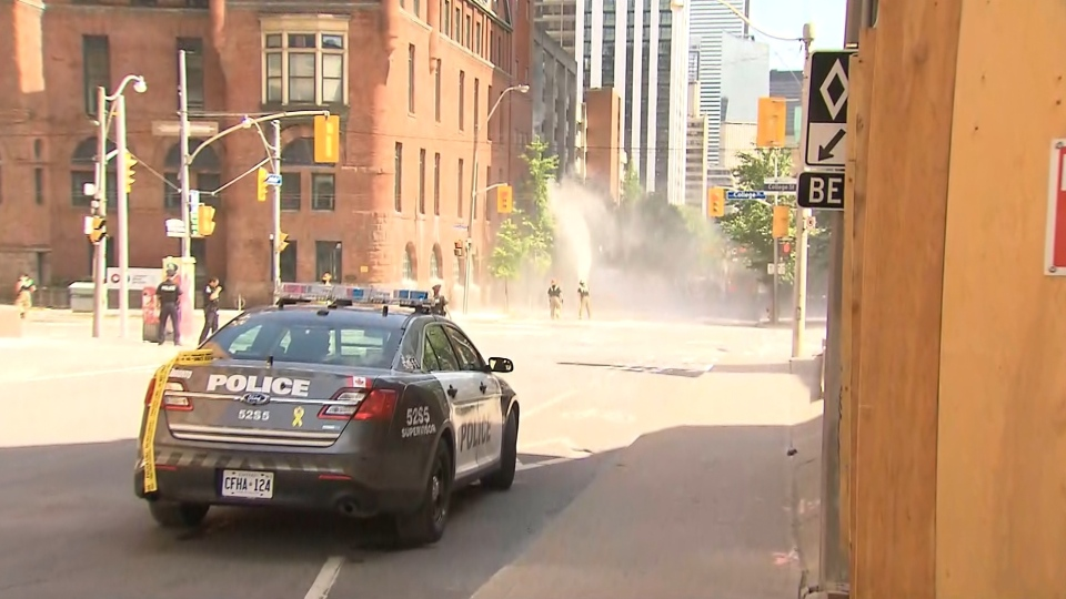 Toronto police on scene of possible chemical hazard downtown.
