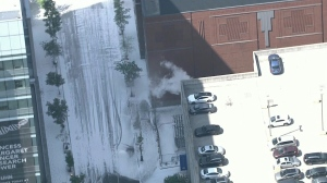 Aerial shot of the scene at College and Elizabeth.