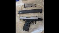 A .40 calibre Smith & Wesson handgun and an extended illegal magazine seized by police on June 1, 2020, is shown. (TPS)