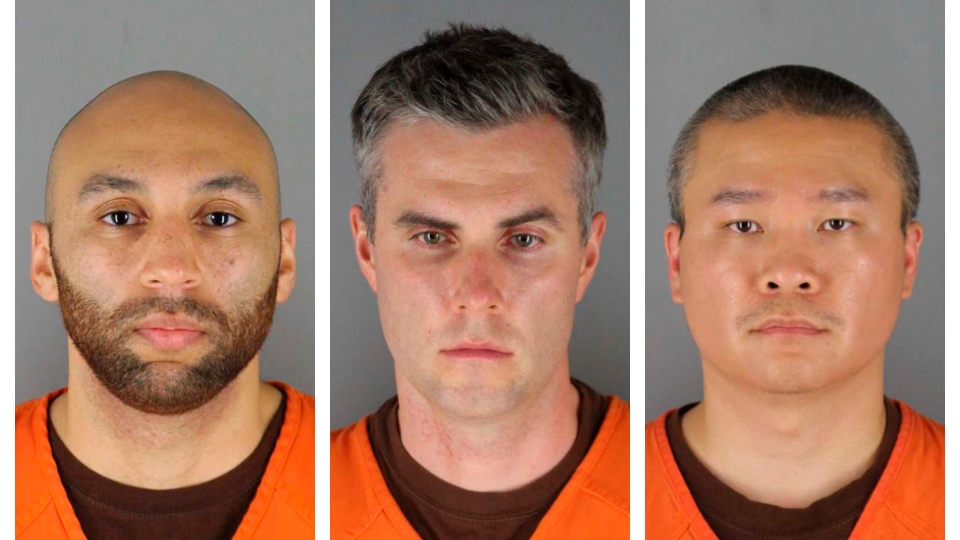 This combination of photos provided by the Hennepin County Sheriff's Office in Minnesota on Wednesday, June 3, 2020, shows J. Alexander Kueng, from left, Thomas Lane and Tou Thao. They have been charged with aiding and abetting Derek Chauvin, who are charged with second-degree murder of George Floyd, a black man who died after being restrained by the Minneapolis police officers on May 25. (Hennepin County Sheriff's Office via AP)
