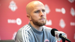 "In this Nov. 13, 2019, file photo, Toronto FC MLS soccer player Michael Bradley speaks to the media during an end of season availability in Toronto. Toronto FC captain Michael Bradley pulled no punches Thursday, lamenting the ""zero leadership"" south of the border as the U.S. is ravaged by racial unrest. THE CANADIAN PRESS/Chris Young"