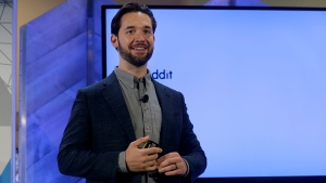 FILE- In this Dec. 13, 2017, file photo Alexis Ohanian, co-founder of Reddit, speaks at a Microsoft event in San Francisco, Wednesday, Dec. 13, 2017. (AP Photo/Jeff Chiu, File)