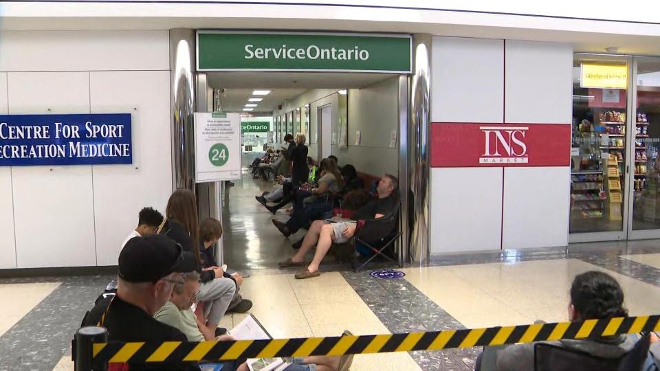 Long lines at Service Ontario centre at 777 Bay Street.