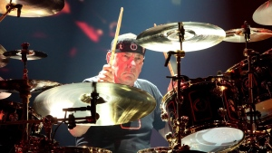 "Neil Peart of the band Rush performs in concert during their ""R40 Live: 40th Anniversary Tour 2015"" at the Wells Fargo Center on Thursday, June 25, 2015, in Philadelphia. The city of St. Catharines, Ont., is naming a local pavilion after late Rush drummer Neil Peart and considering other ways to honour his legacy. THE CANADIAN PRESS/AP-Owen Sweeney/Invision"