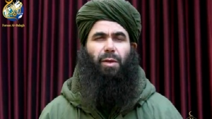 In this photo taken from video is Abdelmalek Droukdel. The French military and allied forces in Mali killed the longtime leader of al-Qaida's North African arm, who commanded jihadists in his native Algeria and then spread their movement across Africa's Sahel region, France's defense minister said Friday, June 5, 2020. (Militant video via AP)