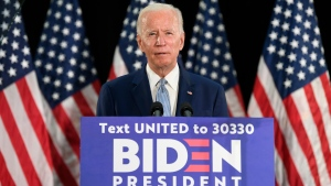 Democratic presidential candidate, former Vice President Joe Biden speaks during an event in Dover, Del., Friday, June 5, 2020. (AP Photo/Susan Walsh)