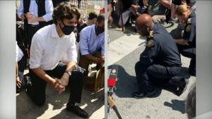 Prime Minister Justin Trudeau and Toronto Police Chief Mark Saunders knelt on the ground in separate anti-racism rallies in Ottawa and Toronto on Friday.