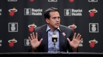 Miami Heat head coach Erik Spoelstra speaks during a news conference after an NBA basketball game between the Heat and the Charlotte Hornets, Wednesday, March 11, 2020, in Miami. (AP Photo/Wilfredo Lee)