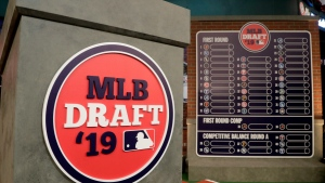 The rostrum is viewed at the MLB Network prior to the first round of the Major League Baseball draft, Monday, June 3, 2019, in Secaucus, N.J. The Toronto Blue Jays hold the No. 5 pick in Wednesday's MLB Draft, their highest draft position since taking Vernon Wells at No. 5 in 1997. THE CANADIAN PRESS/AP-Julio Cortez