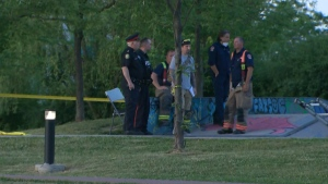 Police investigate a shooting at a skatepark on Research Road Tuesday June 9, 2020.