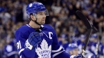 Toronto Maple Leafs centre John Tavares (91) celebrates his goal during second period NHL hockey action against the Anaheim Ducks in Toronto on Friday, Feb. 7, 2020. THE CANADIAN PRESS/Frank Gunn