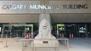 The entrance to Calgary's city hall.