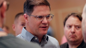 Toronto Blue Jays general manager Ross Atkins speaks at a media availability during the Major League Baseball general managers annual meetings, Wednesday, Nov. 13, 2019, in Scottsdale, Ariz. Atkins believes utility player Austin Martin, taken fifth in Major League Baseball's draft, will complement the ball club's young core of players. THE CANADIAN PRESS/AP /Matt York
