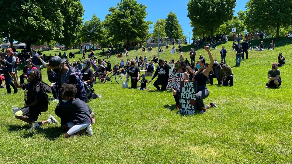 Demonstrators attend the 'Remember the 400: Youth Rally' at Christie Pitts Park on Saturday afternoon. (Scott Lightfoot)