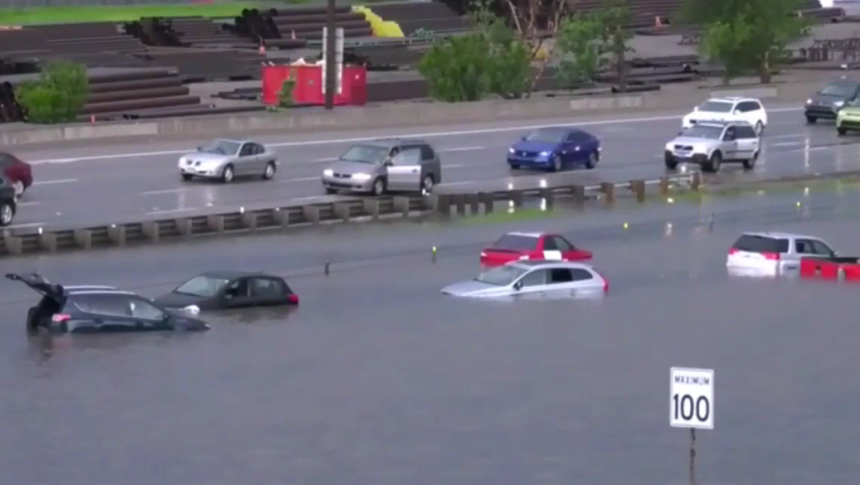 A major storm caused cars to become submerged in Calgary.