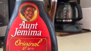 A bottle of Aunt Jemima syrup sits on a counter, Wednesday, June 17, 2020 in White Plains, N.Y. (AP Photo/Donald King)
