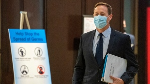 Conservative Party of Canada leadership candidate Peter MacKay arrives for the start of the French Leadership Debate in Toronto on Wednesday, June 17, 2020. (THE CANADIAN PRESS/Frank Gunn)