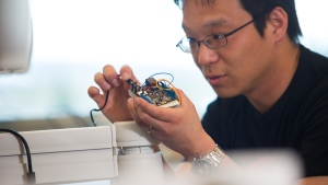Steve Liang, shown in this handout image, a researcher in the Schulich School of Engineering and entrepreneur who is working in the Internet of Things, a cool new area of technological development. THE CANADIAN PRESS/HO-University of Calgary-Riley Brandt