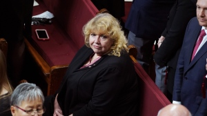 Senator Lynn Beyak waits for the Throne Speech in the Senate chamber in Ottawa, Thursday, Dec. 5, 2019. THE CANADIAN PRESS/Chris Wattie
