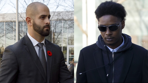 Const. Michael Theriault (left) and Dafonte Miller (right) are seen in this composite image. (The Canadian Press)