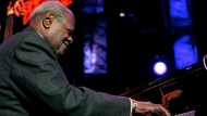 Canadian jazz legend Oscar Peterson performs on the Stravinski hall stage during the 39th Montreux Jazz Festival in Montreux, Switzerland, Saturday, July 16, 2005. THE CANADIAN PRESS/AP/Keystone, Martial Trezzini