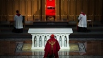 Cardinal Thomas Collins delivers at online Good Friday service in an empty St. Michael's Cathedral in Toronto on Friday, April 10, 2020. Health officials and the government have asked that people stay inside to help curb the spread of COVID-19. THE CANADIAN PRESS/Nathan Denette
