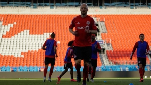 Toronto FC captain Michael Bradley takes part in team training at BMO Field in Toronto on Friday June 26, 2020. Toronto FC was about to train at BMO Field on March 12 when the session, and then the season, was suddenly halted. On Friday evening, 106 days, later they returned for a first practice at their home stadium since the global pandemic ground Major League Soccer to a halt. THE CANADIAN PRESS/HO-Toronto FC