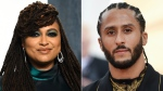 "In this combination photo, filmmaker Ava DuVernay appears at the Vanity Fair Oscar Party in Beverly Hills, Calif. on Feb. 9, 2020, left, and Colin Kaepernick attends The Metropolitan Museum of Art's Costume Institute benefit gala in New York on May 6, 2019. Kaepernick is joining with Emmy-winning filmmaker DuVernay on a Netflix miniseries about the teenage roots of the former NFL player's activism. Neftlix says the limited series, titled ""Colin in Black & White,"" will examine Kaepernick's high school years. (AP Photo)"