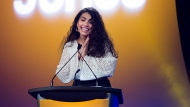 Canadian singer-songwriter Alessia Cara speaks as she's announced as the new host for the Junos during the 2020 Juno Award nominee press conference in Toronto on Tuesday, January 28, 2020.  THE CANADIAN PRESS/Nathan Denette