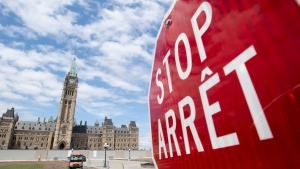 Construction is ongoing on the front lawn of the Parliament buildings in Ottawa, Tuesday, June 30, 2020. Canada Day celebrations on Parliament Hill were cancelled this year due to the COVID-19 pandemic. THE CANADIAN PRESS/Adrian Wyld