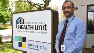 Wajid Ahmed, Chief Officer of Health for Windsor-Essex County poses for an image outside his office in Windsor, Ont. on Thursday June 25, 2020. THE CANADIAN PRESS/Rob Gurdebeke