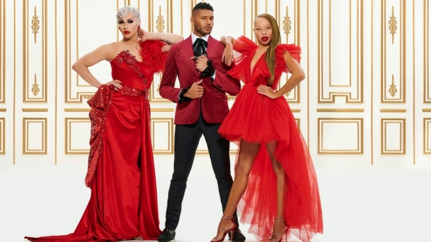 """Brooke Lynn Hytes (left to right), Jeffrey Bowyer-Chapman and Stacey McKenzie are shown in a handout photo from the show """"Canada's Drag Race."""" When """"Canada's Drag Race"""" starts its engines Thursday on Crave, it will be just as glittery and entertaining as the American version, say the judges. THE CANADIAN PRESS/HO-Bell Media MANDATORY CREDIT"""
