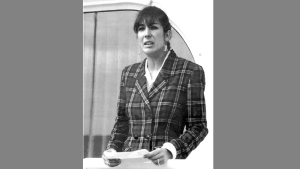 "In this Nov. 7, 1991, file photo Ghislaine Maxwell, daughter of late British publisher Robert Maxwell, reads a statement in Spanish in which she expressed her family's gratitude to the Spanish authorities, aboard the ""Lady Ghislaine"" in Santa Cruz de Tenerife. Maxwell, a British socialite who was accused by many women of helping procure underage sex partners for Jeffrey Epstein, has been arrested in New Hampshire, the FBI said Thursday, July 2, 2020. (AP Photo/Dominique Mollard, File)"