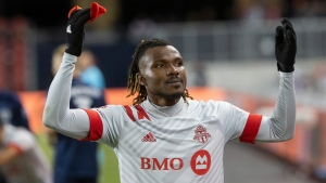 Toronto FC forward Ifunanyachi Achara (99) gestures to fans as he is taken out of the game during the last minutes second half MLS action against New York City FC in Toronto on Saturday March 7, 2020. Toronto FC suffered a blow on the eve of flying to Florida for the MLS is Back Tournament with news that Ifunanyachi Achara is out for the remainder of the season with a knee injury.THE CANADIAN PRESS/Chris Young
