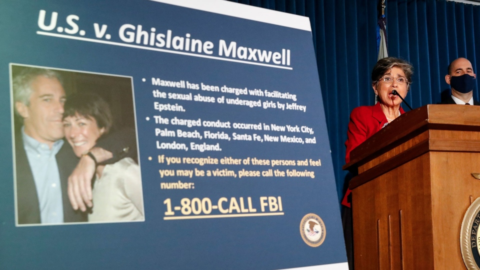 Audrey Strauss, Acting United States Attorney for the Southern District of New York, center, speaks alongside William F. Sweeney Jr., Assistant Director-in-Charge of the New York Office of the Federal Bureau of Investigation, center right, and New York City Police Commissioner Dermot Shea, right, during a news conference to announce charges against Ghislaine Maxwell for her alleged role in the sexual exploitation and abuse of multiple minor girls by Jeffrey Epstein, Thursday, July 2, 2020, in New York. (AP / John Minchillo)