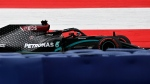 Mercedes driver Lewis Hamilton of Britain steers his car during the first practice session at the Red Bull Ring racetrack in Spielberg, Austria, Friday, July 3, 2020. The Austrian Formula One Grand Prix will be held on Sunday. (Joe Klamar/Pool via AP)