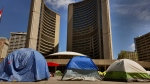 Tents sent up by demonstrators in Nathan Phillips Square are shown on Friday, July 3rd. (Craig Wadman)
