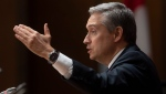 Foreign Affairs Minister Francois-Philippe Champagne gestures as he responds to a question at a news conference in Ottawa, Thursday, April 2, 2020. THE CANADIAN PRESS/Adrian Wyld