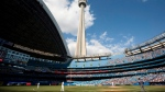 The Blue Jays are set to begin their summer training camp this weekend at Rogers Centre, and there are plenty of storylines to watch over the next few weeks. The CN Tower looms over the Toronto Blue Jays and Detroit Tigers in Toronto, Saturday, May 7, 2011. THE CANADIAN PRESS/Darren Calabrese