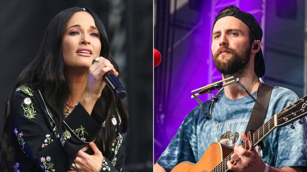 """Kacey Musgraves performs during the first weekend of the Austin City Limits Music Festival in Zilker Park on Oct. 6, 2019, in Austin, Texas, left, and Ruston Kelly performs at the Bonnaroo Music and Arts Festival on June 15, 2019, in Manchester, Tenn. Musgraves and Kelly have filed for divorce. In a joint statement, Musgraves and Kelly said """"we've made this painful decision together."""" (Photo by Amy Harris/Invision/AP)"""