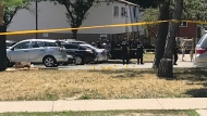Police tape is shown at the scene of a shooting investigation near Victoria Park and Finch avenues on Saturday afternoon. (Mike Nguyen)