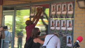 Around 100 protesters plastered Mendicino's Toronto office windows with posters of Juan Lopez Chapparo, Bonifacio Eugenio Romero, and Rogelio Munez Santos - three migrant workers who died from the COVID-19 virus in June while working on Ontario farms.