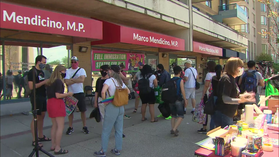 Demonstrations organized by the Migrant Rights Network were held Saturday in Montreal, Toronto, Vancouver and Halifax in front of offices of members of Parliament, including the office of federal Immigration Minister Marco Mendicino.