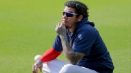 Atlanta Braves' Félix Hernandez sits during team practice at Truist Park on Friday, July 3, 2020, in Atlanta. (AP Photo/Brynn Anderson)