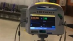 A blood pressure monitor in a Toronto emergency room is shown in an image from a video a woman posted after being refused care for not wearing a mask on July 4, 2020.