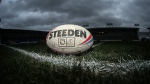 A Toronto Wolfpack rugby ball is shown in a handout photo. THE CANADIAN PRESS/HO-Stephen Gaunt, Touchlinepics Sports and Event Photography MANDATORY CREDIT