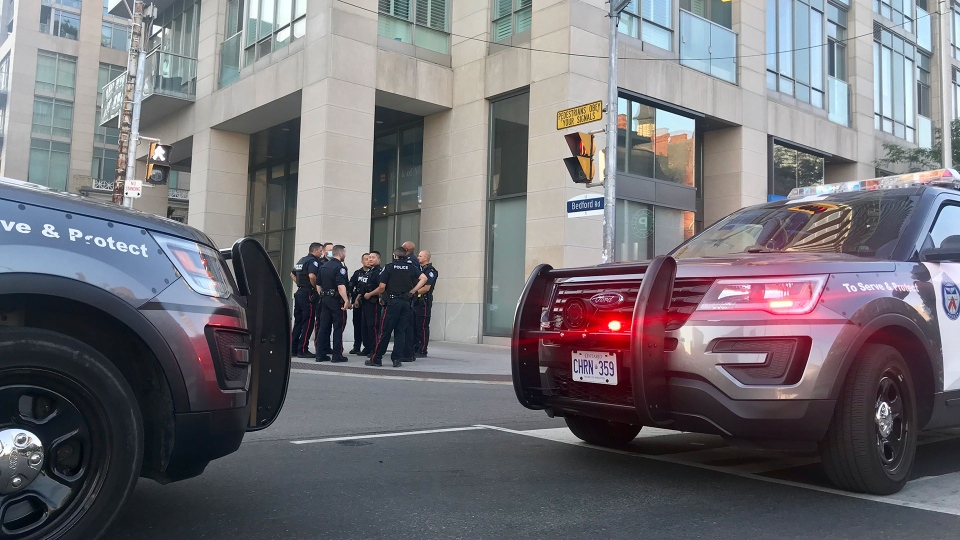 Police respond to a protest on Bloor Street Monday July 6, 2020. (Francis Gibbs)